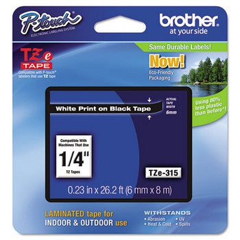 Brother TZE-315 Labeling Tape, 1/4w, White on Black