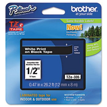 Brother TZE-335 Labeling Tape, 1/2w, White on Black