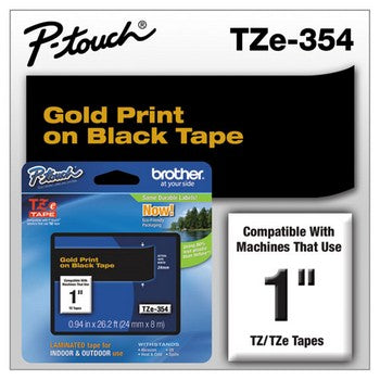Brother TZE-354 Labeling Tape, 1w, Gold on Black