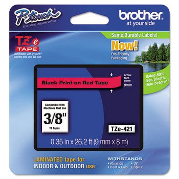 Brother TZE-421 Labeling Tape, 3/8w, Black on Red