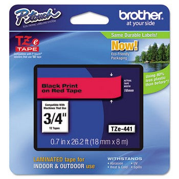 Brother TZE-441 Labeling Tape, 3/4w, Black on Red