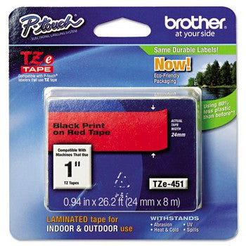 Brother TZE-451 Labeling Tape, 1w, Black on Red