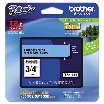 Brother TZE-541 Labeling Tape, 3/4w, Black on Blue