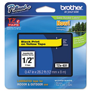 Brother TZE-631 Labeling Tape, 1/2w, Black on Yellow