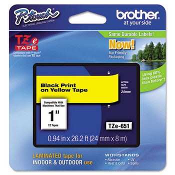 Brother TZE-651 Labeling Tape, 1w, Black on Yellow
