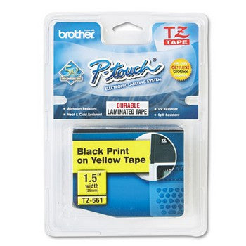 Brother TZE-661 Labeling Tape, 1-1/2w, Black on Yellow
