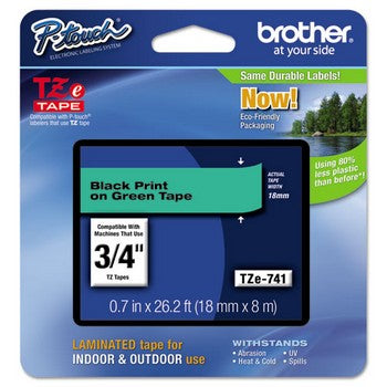 Brother TZE-741 Labeling Tape, 3/4w, Black on Green