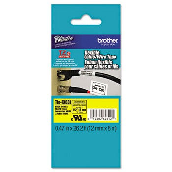 Brother TZE-FX631 Tape Cartridge, 1/2in x 26.2ft, Black on Yellow