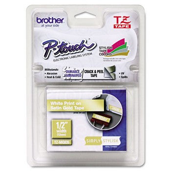 Brother TZE-MQ835 Labeling Tape, 1/2 inch x 16.4 ft, White/Gold