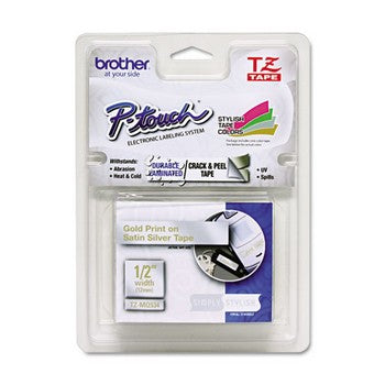 Brother TZE-MQ934 Labeling Tape, 1/2 inch x 16.4 ft, Gold/Silver