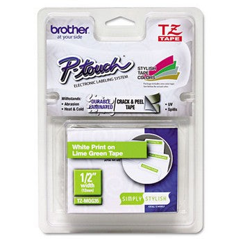 Brother TZE-MQG35 Labeling Tape, White/Lime Green