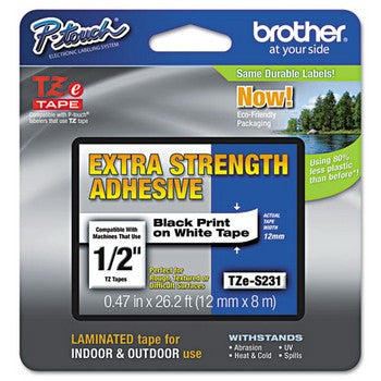 Brother TZE-S231 Extra-Strength Labeling Tape, 1/2w, Black on White