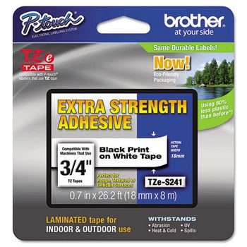 Brother TZE-S241 Labeling Tape, 3/4w, Black on White