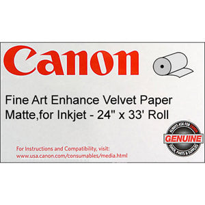 Canon 24in x 33ft  Fine Art Enhanced Velvet Paper, Canon 0623V131