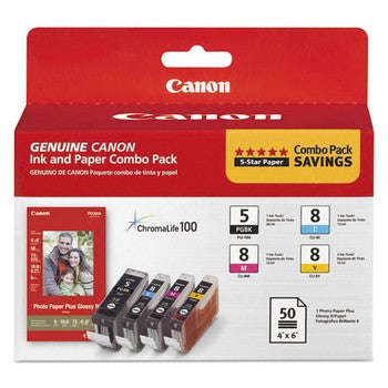 Canon PGI-5 Black/ CLI-8 Cyan, Magenta, Yellow and Paper (Combo Pack) Ink Cartridge, Canon 0628B027