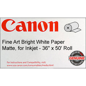 Canon 36in x 50ft Fine Art Bright White Paper 230 gsm, Canon 0850V069