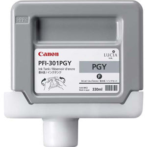 Canon PFI-301PGY Pigmented Photo Gray Ink Cartridge, Canon 1496B001
