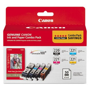 Canon PGI-220 / CLI-221 (Cyan, Magenta, Yellow) 4 x 6 inch, 50 Sheets, Combo Pack Ink Paper Combo Pack, Canon 2945B011