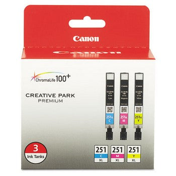 Canon CLI-251XL Cyan, Magenta, Yellow, 3/Pack Ink Cartridge, Canon 6449B009