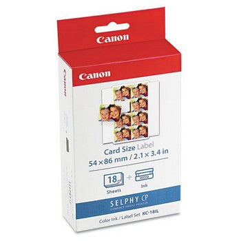 Canon KC-18IL Color Ink/Label Set, 18 Sheets (Combo Pack) Ink Cartridge, Canon 7740A001