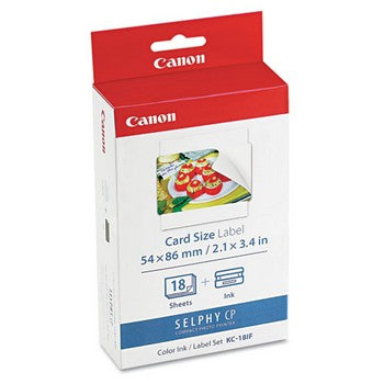 Canon KC-18IF Color Ink & Label Set, 18 Sheets (Combo Pack) Ink Cartridge, Canon 7741A001