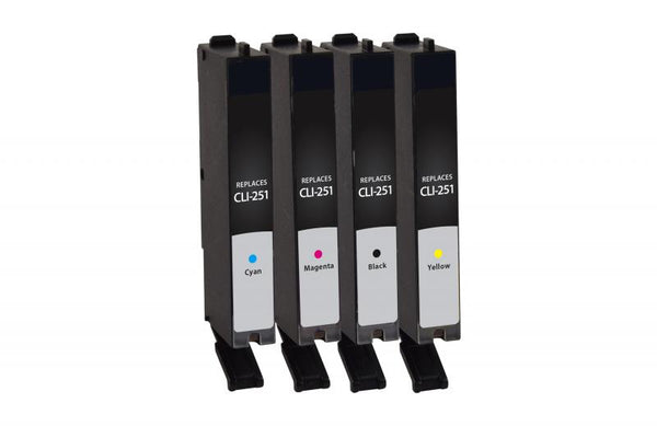 CIG Remanufactured Black, Cyan, Magenta, Yellow Ink Cartridges for Canon CLI-251 4-Pack