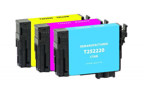 CIG Remanufactured Cyan, Magenta, Yellow Ink Cartridges for Epson T252, 3-Pack