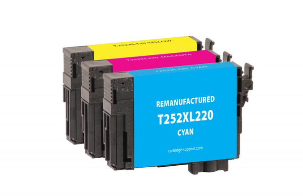 CIG Remanufactured Cyan, Magenta, Yellow High Yield Ink Cartridges for Epson T252XL 3-Pack