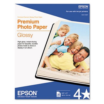 Epson Premium Photo Paper, Glossy 8 .5 x 11 Inch/50 sheet (S041667)