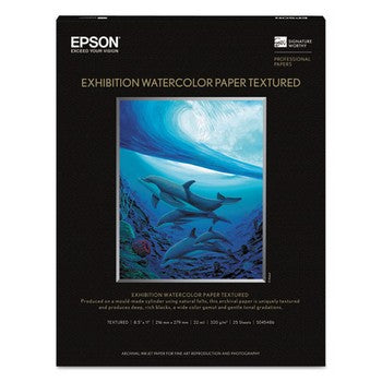 Exhibition Textured Watercolor Paper, 8 1/2 x 11, White