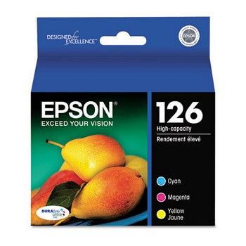 Epson 126 Color, MultiPack(Cyan, Magenta, Yellow), 3/Pack, High Yield Ink Cartridge, Epson T126520