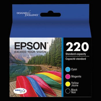 Epson 220 Black, Cyan, Magenta, Yellow, Combo Pack Ink Cartridge, Epson T220120BCS