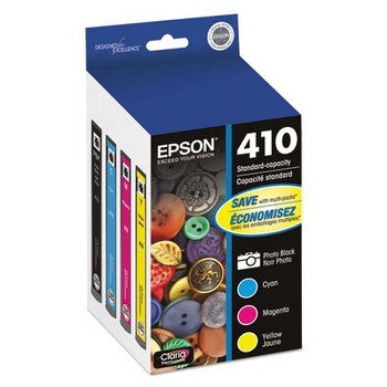 Epson T410 Black, Cyan, Magenta, Yellow, 4/Pk Ink Cartridge, Epson T410520
