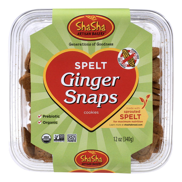 Shasha Bread Organic Spelt Ginger Snap Cookies - Case Of 16 - 12 Oz