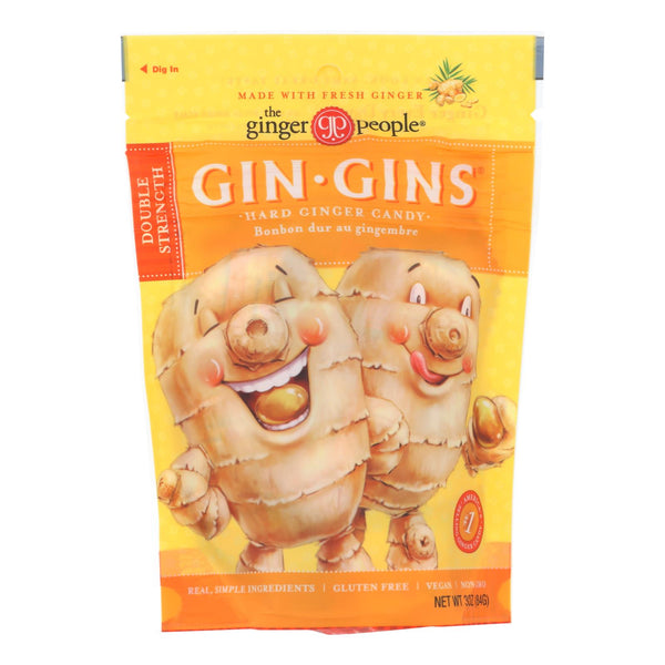 Ginger People - Gin Gins Hard Ginger Candy - Double Strength - Case Of 12 - 3 Oz.