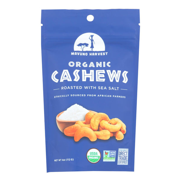 Mavuno Harvest - Organic Roasted Cashews - Sea Salt - Case Of 6 - 4 Oz.