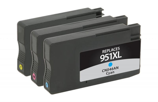 CIG Remanufactured Cyan, Magenta, Yellow Ink Cartridges for HP 951XL 3-Pack