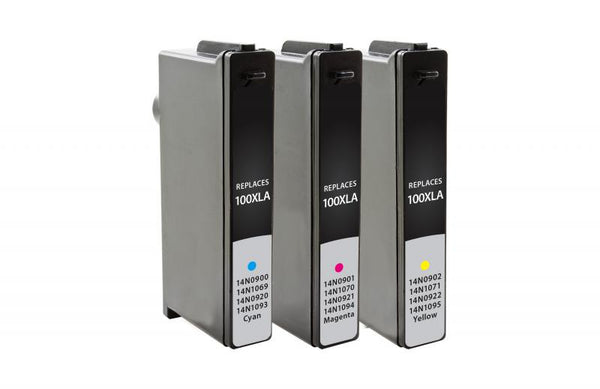 CIG Remanufactured Cyan, Magenta, Yellow Ink Cartridges for Lexmark 100XL 3-Pack