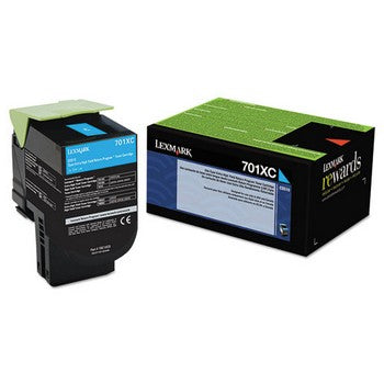 Lexmark 701XC Cyan, Extra High Yield Toner Cartridge, Lexmark 70C1XC0