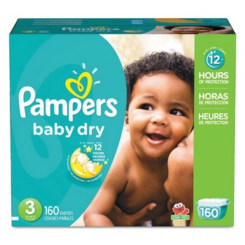 Pampers Baby Dry Diapers, Size 3: 16 to 28 lbs, 160/Carton, Pampers 10037000862373