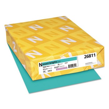 Exact Brights Paper, 8 1/2 x 11, Bright Aqua, 20lb, 500 Sheets