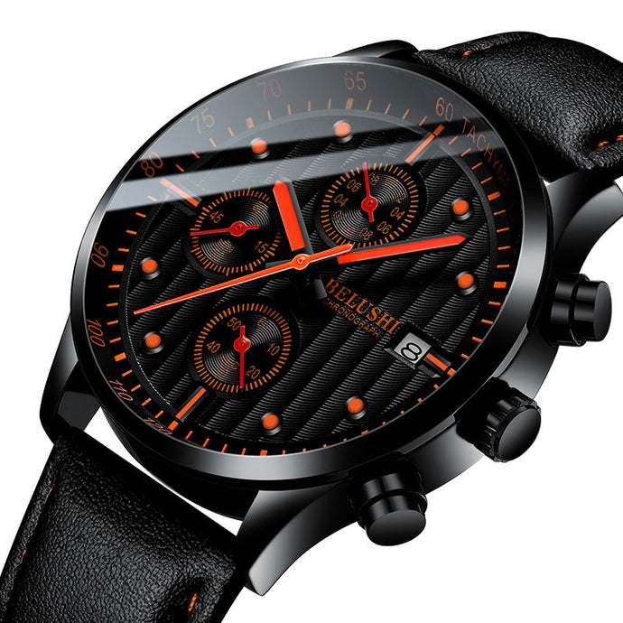 Fashion Chronograph Luminous Watches For Men Leather Strap