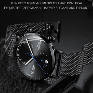 Luminous Chronograph Watches Mesh Band