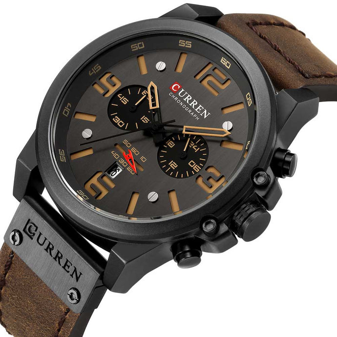 Chronograph Quartz Sports Watches For Men Leather Strap