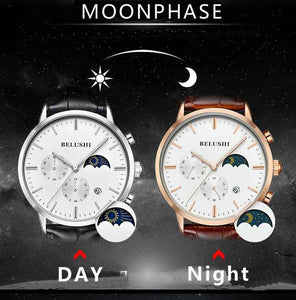 Luxury Moonphase Chronograph Quartz Watches With Leather Strap