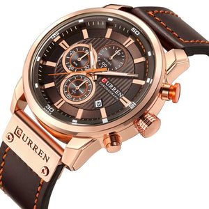 Chronograph Quartz Watches For Men Leather Strap