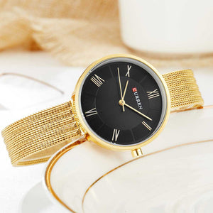 Luxury Mesh band stainless steel watches Waterproof Quartz wrist Watch