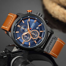 Load image into Gallery viewer, Chronograph Quartz Watches For Men Leather Strap