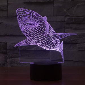 3D LED Lamp Shark 7 Colors Flashing