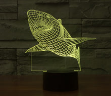 Load image into Gallery viewer, 3D LED Lamp Shark 7 Colors Flashing